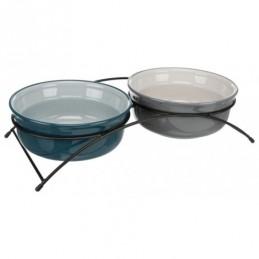 TRIXIE Zestaw misek ceramicznych na stojaku metalowym - Eat on Feet